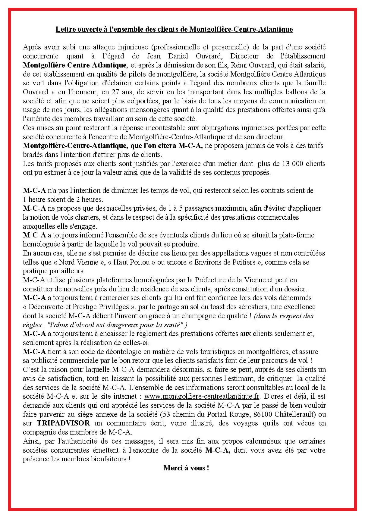 LETTRE OUVERTE AUX CLIENTS DE MONTGOLFIERE CENTRE ATLANTIQUE 1-6-2020