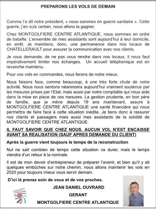 MESSAGE MONTGOLFIERE CENTRE ATLANTIQUE